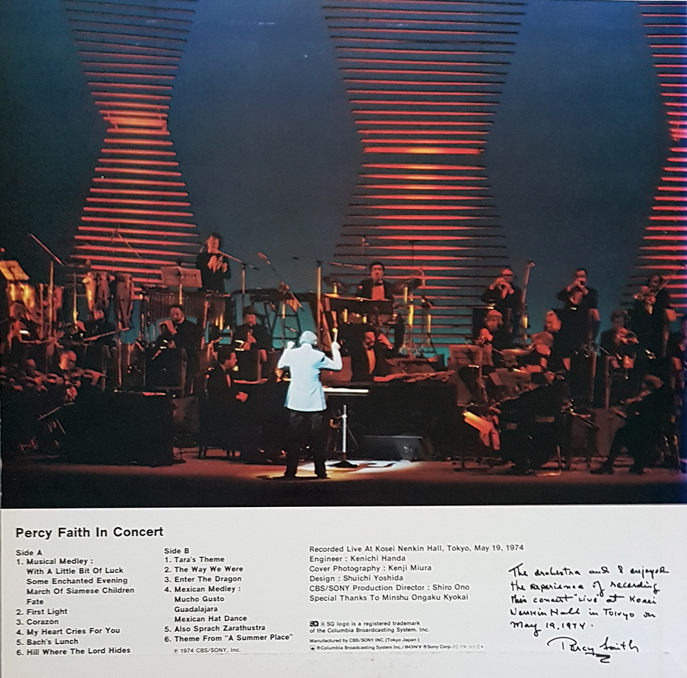 Percy Faith In Concert - back cover